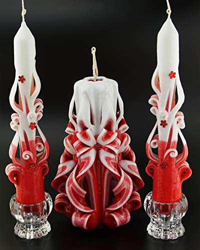 Set of 3 Wedding Taper Unity Carved Magic Candles Red White - Custom order available with any scent color shape - Handmade in ()