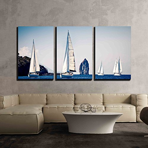 Sailing Ship Yachts with White Sails x3 Panels