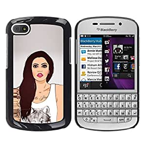 LECELL -- Funda protectora / Cubierta / Piel For BlackBerry Q10 -- Sexy Wolf Girl --