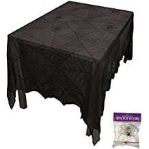 Bundle: 2 Items - Lace Decor Tablecloth 48 X 96 and Free Spider Web (Comes with Free How to Live Stress Free Ebook)