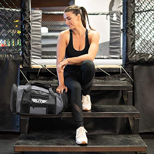 Elite Sports New Item Ventilated Mesh Duffel Gym Bag, Gray