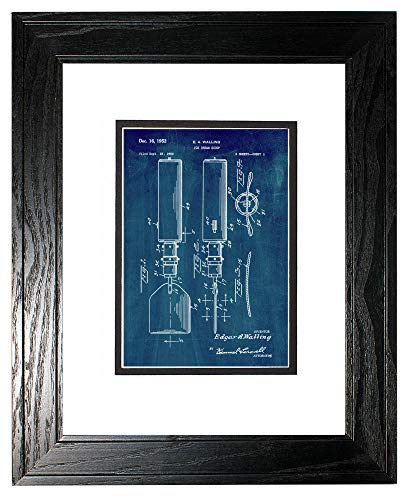 Ice Cream Scoop Patent Art Midnight Blue Print in a Black Pine Wood Frame with a Double Mat (13