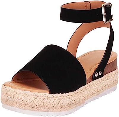 ❉Sandales Compensées Femme Sandales Talon Compensé Chaussures Tongs Sandales Talons Hauts Bout Ouvert Plate Forme Mode Été Pente Sandales Mocassins