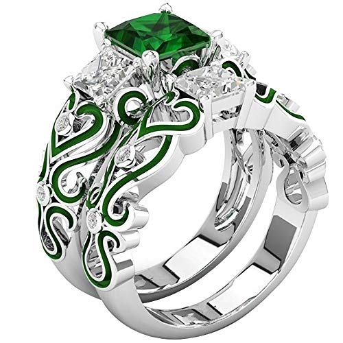 AONEW Women Engagement Wedding Ring Set White Gold 2pcs 1.5ct Princess White Cz Green Size 5-12 Size 8
