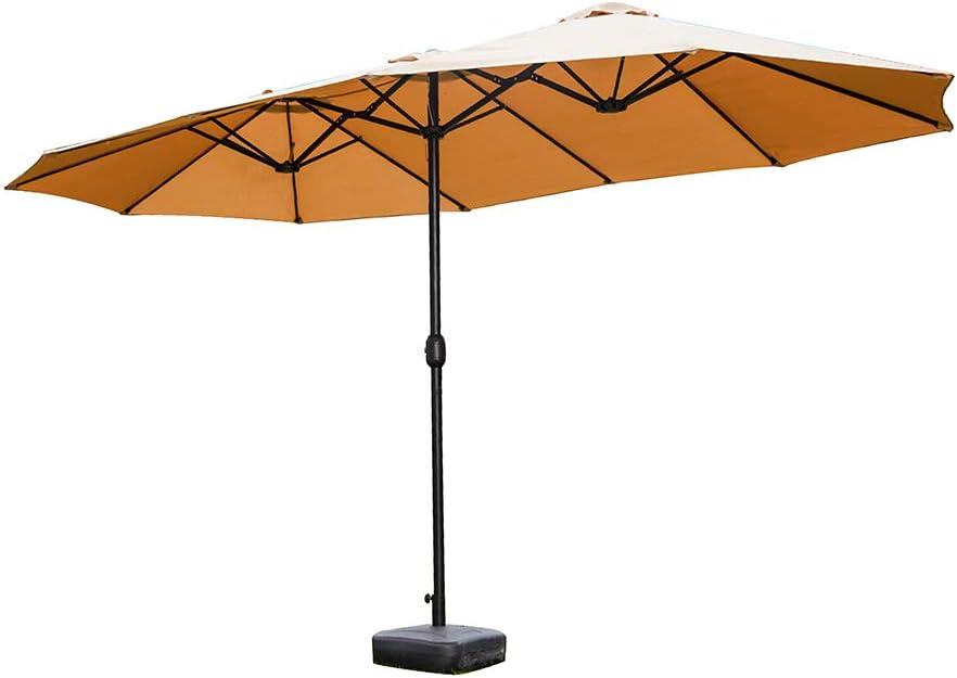 BULemon 15フィート両面パティオ傘屋外パティオ傘赤青茶色カーキ新しい屋外ツインパティオ傘ガーデン両面市場パラソルクランク付きサンシェルター カーキ