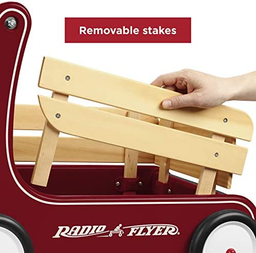 511cqBrF23L. AC - Radio Flyer Classic Walker Wagon, Sit To Stand Toddler Toy, Wood Walker, Red, Model Number: 612s