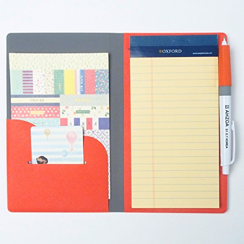 AHZOA 2 Pockets Slim Memo Padfolio F1 With Pencil, Handmade 4.33 X 7.28 Inch Folder Clipboard Writing Pad (orange)