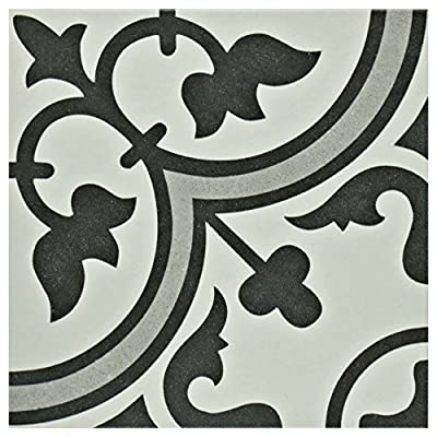 "SomerTile FCD10ARG Burlesque Porcelain Floor and Wall Tile, 9.5"" x 9.5"", White/Grey"