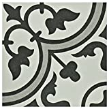 SomerTile FCD10ARG Burlesque Porcelain Floor and Wall Tile, 9.5'' x 9.5'', White/Grey