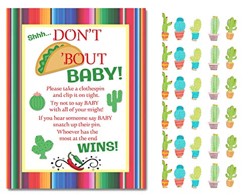 Don't Taco Bout A Baby Don't Say Baby Shower Game Mini Cactus Clothespins for 30 Players