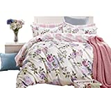 Pink and Purple Duvet Covers Swanson Beddings Pink-Purple Roses 3-Piece 100% Cotton Bedding Set: Duvet Cover and Two Pillow Shams (Queen)