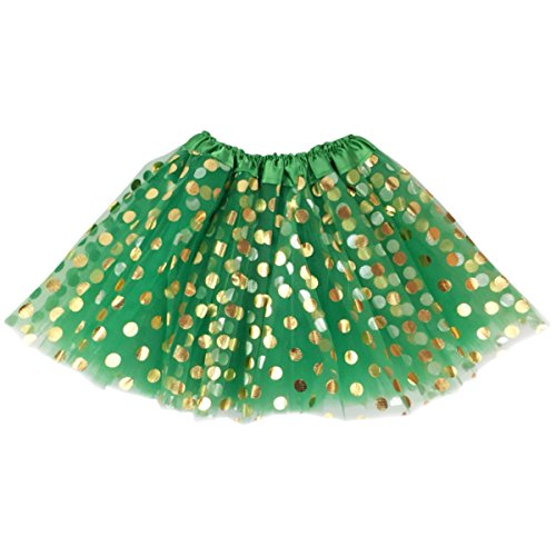 Jastore Baby Girls' Polka Dot Tutu Glitter Ballet Triple Layer Tulle Dance Skirt (3-10 Years, Green)