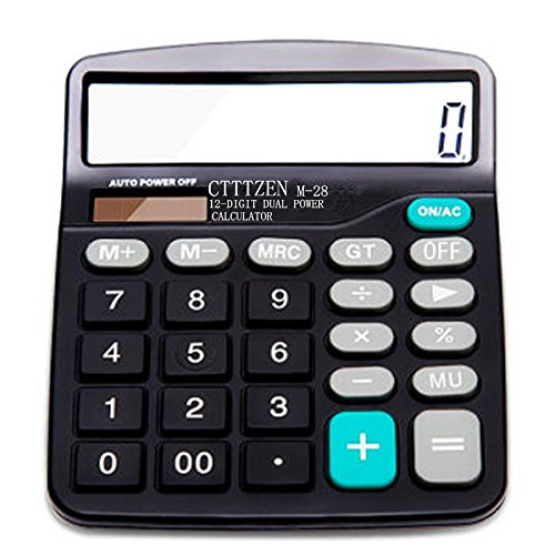 Calculator, Everplus Electronic Desktop Calculator with 12 Digit Large Display, Solar Battery LCD Display Office Calculator (Black)