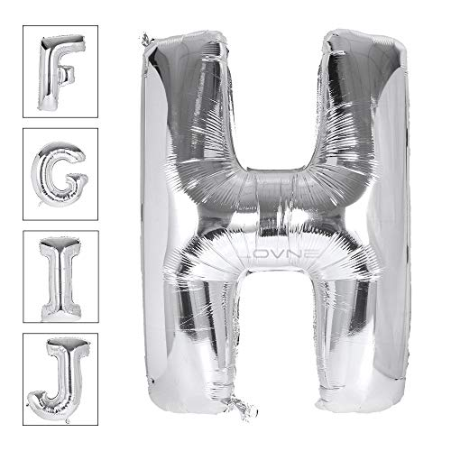 Lovne 40 Inch Jumbo Silver Alphabet H Balloon Giant Prom Balloons Helium Foil Mylar Huge Letter Balloons A to Z for Birthday Party Decorations Wedding Anniversary