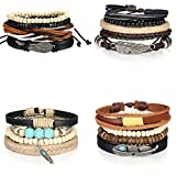 Aroncent 16 Pcs Wooden Beaded Bracelets for Men Women Leather Cuff Bracelet Elastic 7-8.5inches Adjustable