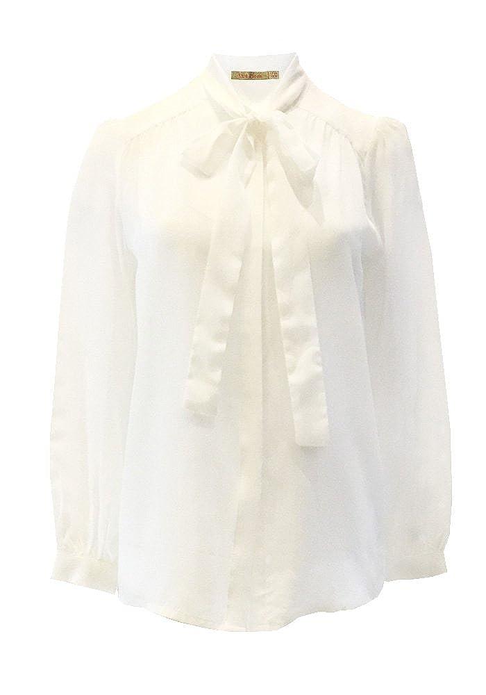 ANA PIRES MILANO Camicia Kasia in 100% Seta, Tinta Unita, Fiocco al Collo, Best Seller! FW15CM75