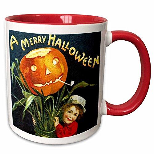 3dRose VintageChest - Halloween - Clapsaddle - Boy with Funny Pumpkin - 15oz Two-Tone Red Mug (mug_159947_10)]()