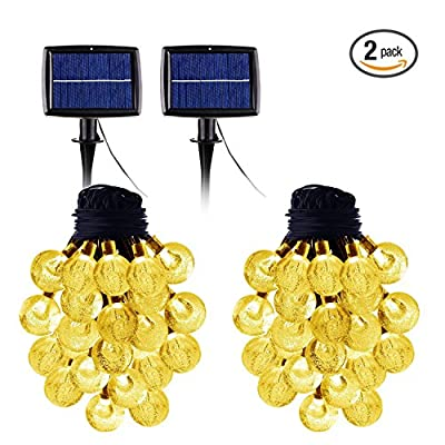 Solar String Lights 20 Feet with 30 LED Warm White Waterproof Indoor Outdoor Décor(2 Pack)
