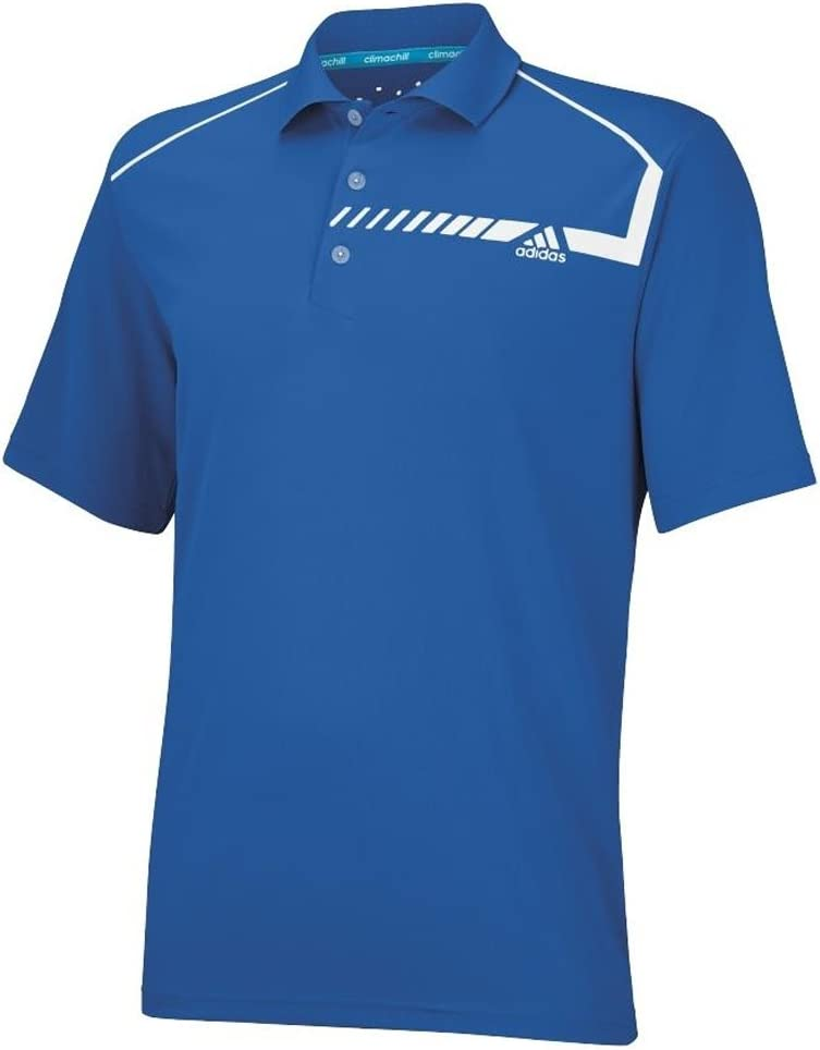 adidas Golf Mens ClimaChill Chest Print Polo Shirt, Bright Royal ...