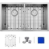 Enbol SD3319 Stainless Steel 33-Inch Undermount 50/50 Double Bowl 16 gauge Kitchen Sink