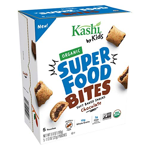 Kashi by Kids, Super Food Chocolate Bites, Soft Baked Organic Snacks, Fair Trade Cocoa, Peanut Free, 5.6oz, 5 Count…