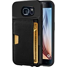 Galaxy S6 Wallet Case - Q Card Case for Samsung Galaxy S6 by CM4 - Ultra Slim Protective *Kickstand* Credit Card Carrying Case (Black Onyx)