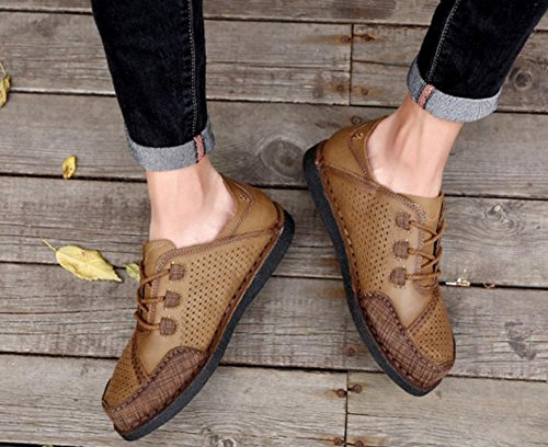 2017 nuevos zapatos huecos del cuero respirable de la marea del verano Zapatos de los hombres respirables del agujero de los zapatos respirables cómodos cómodos 1
