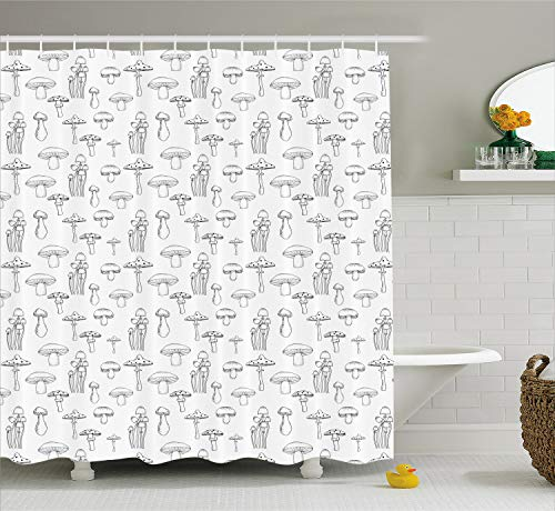 Ambesonne Mushroom Shower Curtain, Pattern with Different Mushrooms Doodle Style Monochrome Display Organic Garden, Cloth Fabric Bathroom Decor Set with Hooks, 70 Inches, White Black