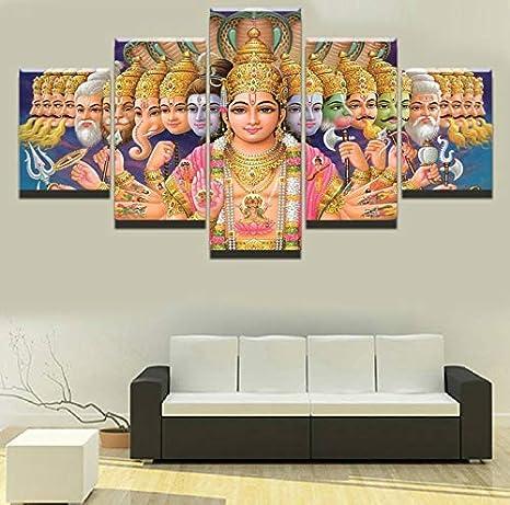 xkkzka ohne rahmen leinwand gemalde wandkunst drucke 5 stucke indischen gott shiva bilder fur wohnzimmer oder