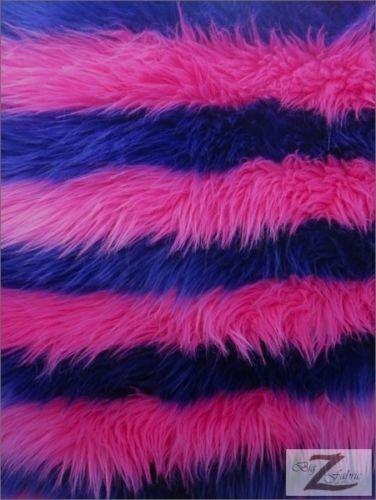 Faux Fake Fur 2 Tone Striped Long Pile Fabric - Purple/Pink - 60