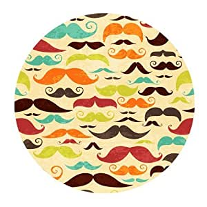 Original Seamless Pattern with Colorful Mustache Mustaches Customized Round Mousepad Mat For Mouse Mice