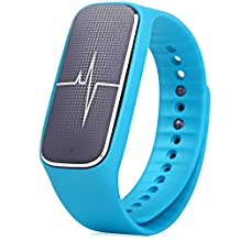 GBlife L18 5 in 1 Bluetooth 4.0 Smart Bracelet with Blood Pressure/ Heart Rate Monitoring/ Sports Tracking/Sleep Monitoring/ Mood Condition Detecting, IP54 Waterproof Smartband Compatible for Android and IOS Smart Phone