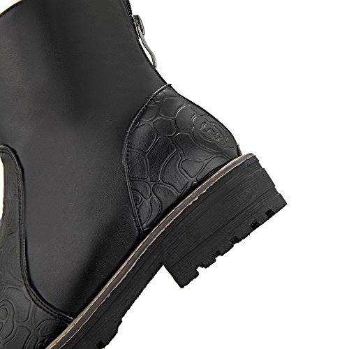 Allhqfashion Dames Lage Hakken Stevige Ronde Dichte Neus Zachte Materiële Rits Laarzen Zwart