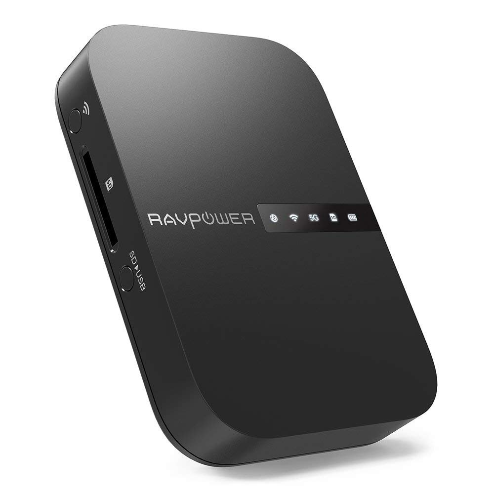 RAVPower FileHub, Travel Router AC750, Wireless SD Card Reader, Connect Portable SSD Hard Drive to iPhone iPad Tablet Smart Phone Laptop for Photo Backup, Data Transfer, Portable NAS, 6700mAh Battery by RAVPower