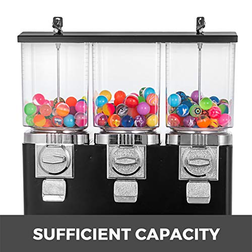 Vending Machine Triple Vending Machine with Removable Canisters Black Commercial Gumball and Candy Machine with Stand Vending Dispenser Coin Operated Candy Dispenser and Gumball Machine
