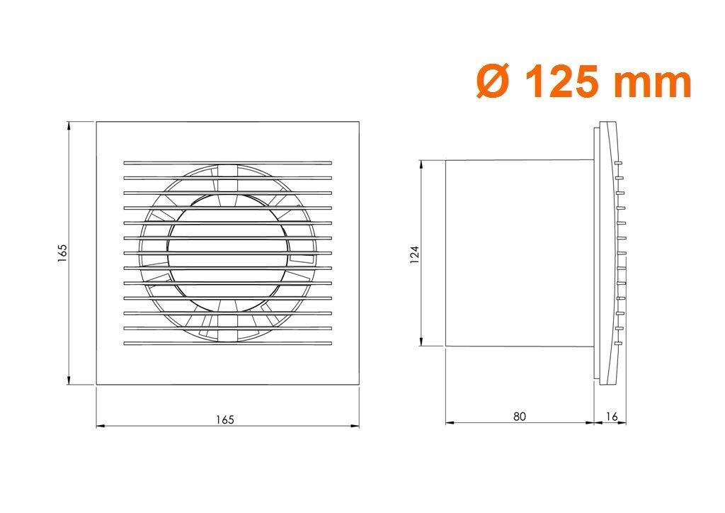 Leise Ventilator /Ø 125mm Bad-L/üfter mit Feuchtesensor und Timer Wei/ß