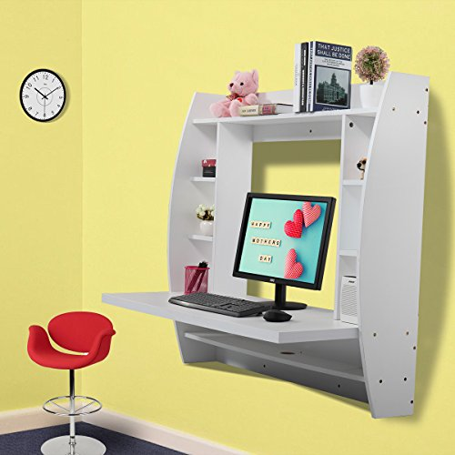 JAXPETY Wall Mounted Floating Computer Desk With Storage Shelves Home Work Station (White) by JAXPETY