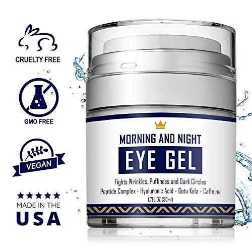 511cu0DKPrL - Eye Cream - Dark Circles & Under Eye Bags Treatment - Reduce Puffiness, Wrinkles - Effective Anti-Aging Eye Gel with Hyaluronic Acid, Gotu Kola Extract and Caffeine - Refreshing Serum