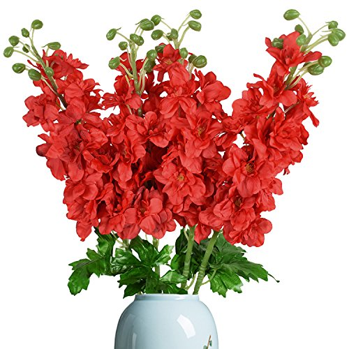 Sunm boutique 4 Pack Artificial Delphinium Flowers Full Blooming Artificial Flowers Plants Wedding Home Decor