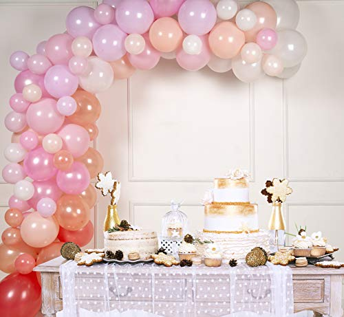 Balloon Arch & Garland Kit by Serene Selection Pink & Rose Gold for Wedding, Bridal Shower, Birthdays, Baby Showers, 100 Balloons, 16 ft Balloon Strips, Tying Tool, Pump, 100 Balloon Dot Glue]()