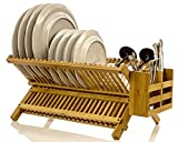 #2: Intriom Bamboo Dish Rack With Utensil Holder Set Scissor Style Foldable (Dish Rack)
