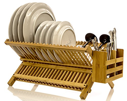 Intriom Bamboo Dish Rack With Utensil Holder Set Scissor Style Foldable (Dish Rack) Wooden Dish Rack