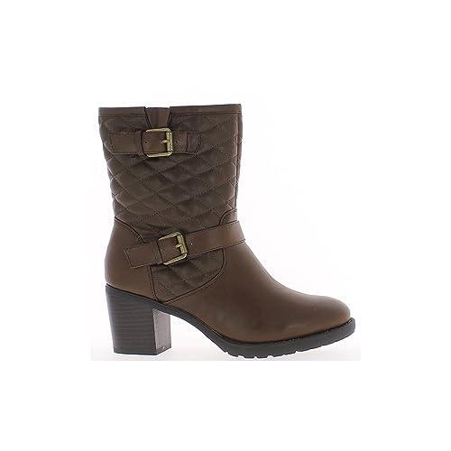 Brown botas talón vástago acolchado en general 7cm: Amazon.es: Zapatos y complementos