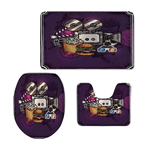 iPrint Fashion 3D Baseball Printed,Modern Decor,Cartoon Like Cinema Movie Image Burgers Popcorns Glasses Art Print,Plum,U-Shaped Toilet Mat+Area Rug+Toilet Lid Covers 3PCS/Set by iPrint