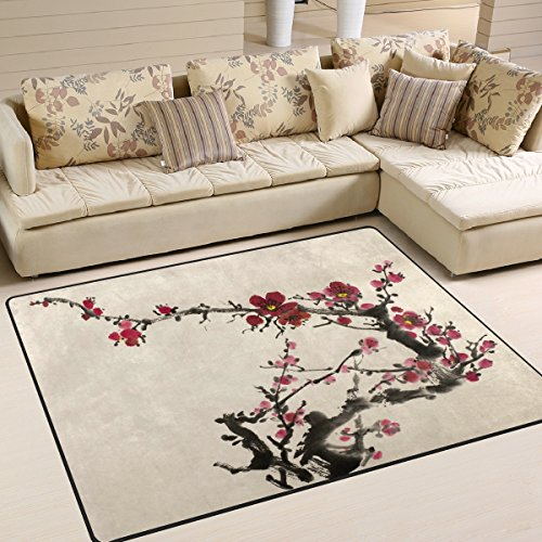 ALAZA Beautiful Chinese Oil Painting Cherry Blossom Area Rug Rugs for Living Room Bedroom 5'3