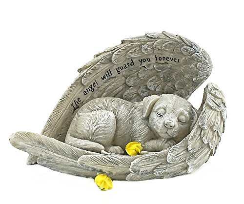 Elaan31 22885 Dog Sleeping in Angel Wings Pet Memorial Garden Statue]()