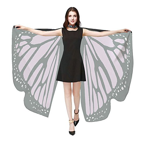 HTDBKDBK Butterfly Wings for Women, Butterfly Shawl Fairy Ladies Cape Nymph Pixie Costume Accessory Pink by HTDBKDBK (Image #1)