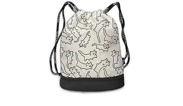 d1fac0ab0736 Amazon.com: HUOPR5Q Cat Drawstring Backpack Sport Gym Sack Shoulder ...