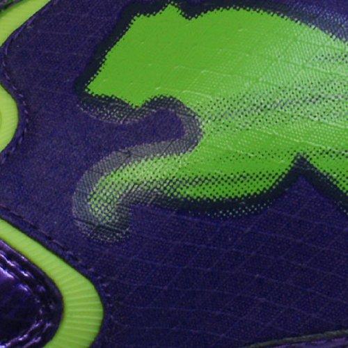 Puma - V1.10 FG - Botas de fútbol con tacos para terreno firme - Morado/verde brillante/negro Morado / verde vivo / negro