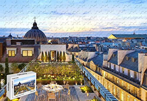 1000 Piece Jigsaw Puzzle - Royal Mandarin Suite Paris Cafe Twilight Afternoon Hotel Wooden Materials,29.5 X 19.6 Inch